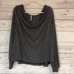 Free People Grey Sparkle Long Sleeve Top Size Med